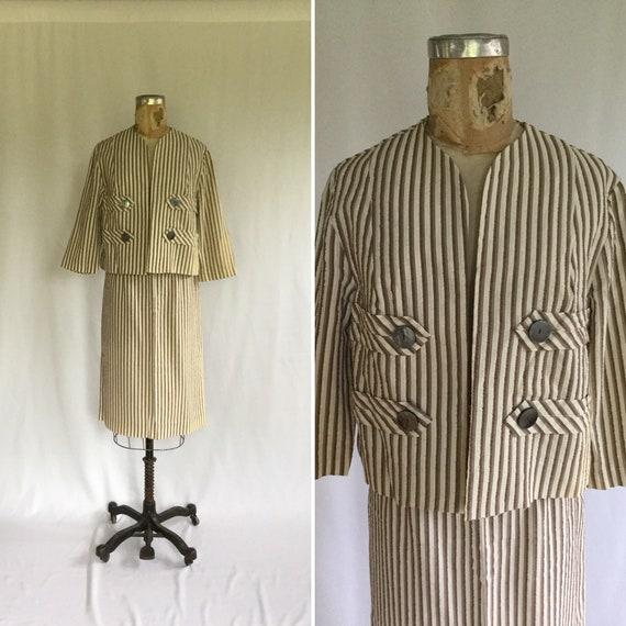 Stripe 50s seersucker suit   Vintage brown striped