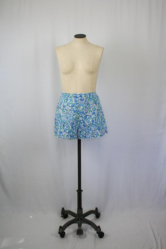 Vintage 70s shorts   Vintage blue novelty print co