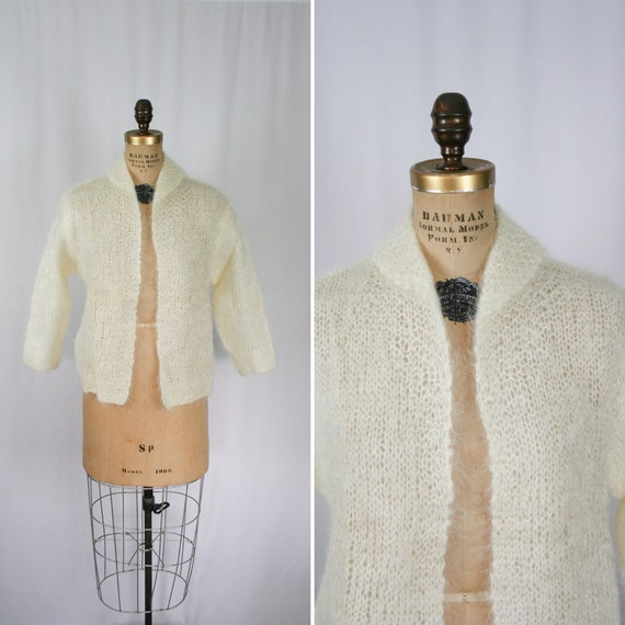 Vintage 50s sweater | Vintage white mohair knit ca