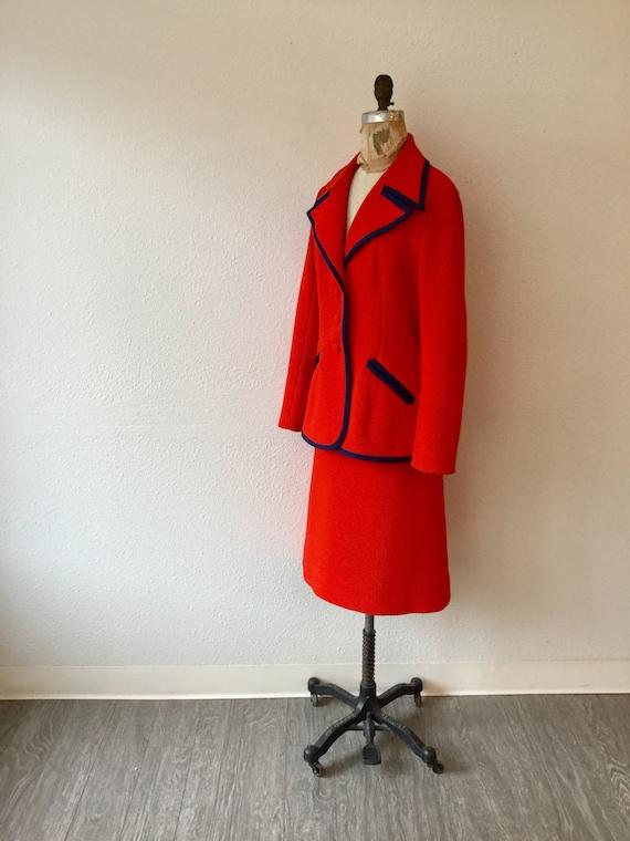 Lilli Ann 70s suit | Vintage tomato red knit suit… - image 6