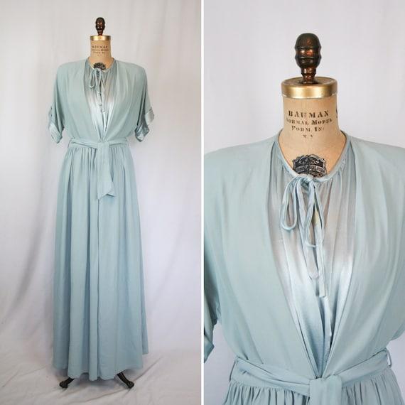 Vintage 40s robe | Vintage dusty blue rayon dressi
