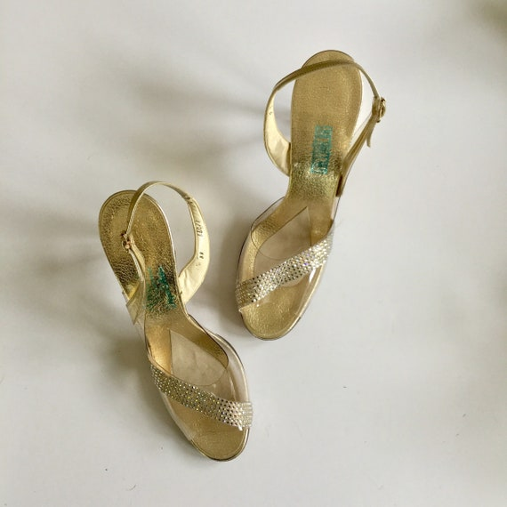 Gold Rhinestone Shoes | Vintage Amano clear plasti