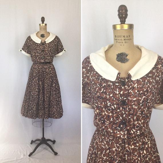 Vintage 50s dress | Vintage abstract print shirtwa