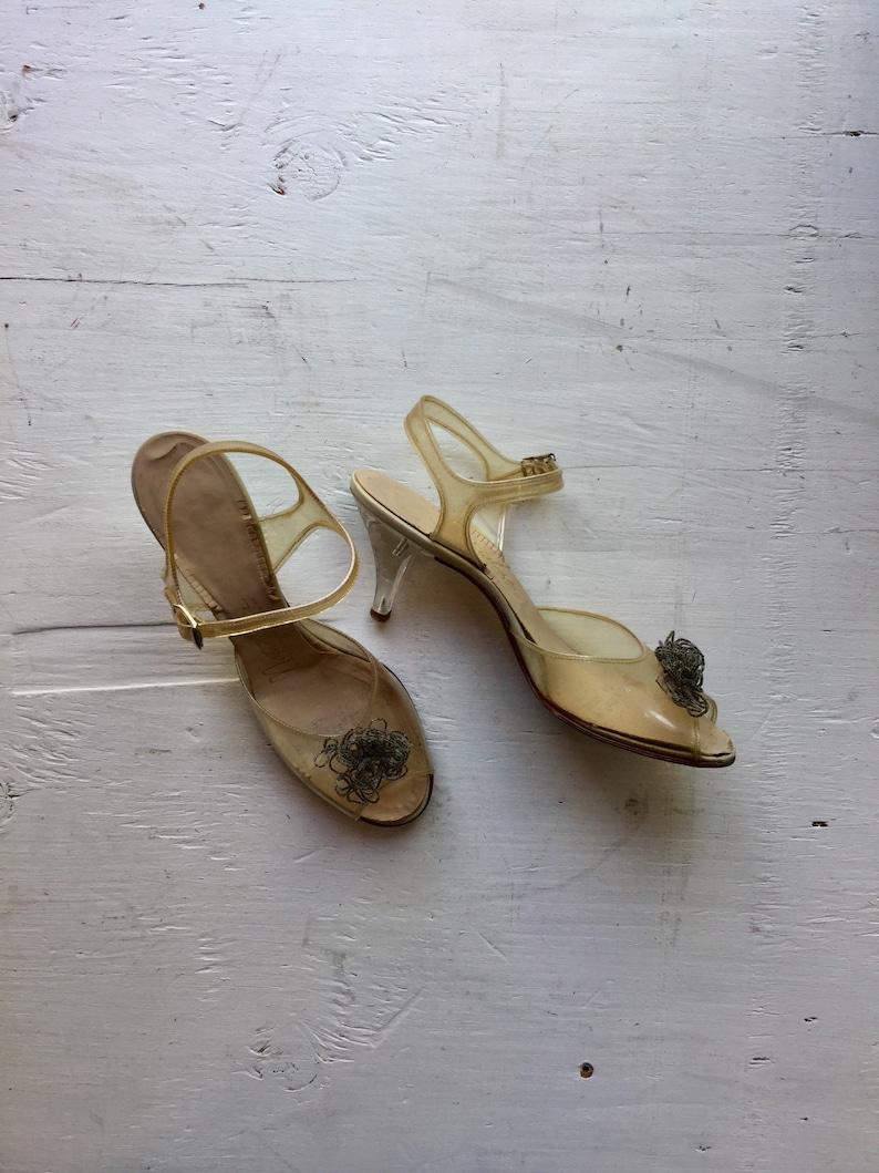 8aad7ccc19c Glass Slipper 50s sandal Vintage size 7.5 clear plastic