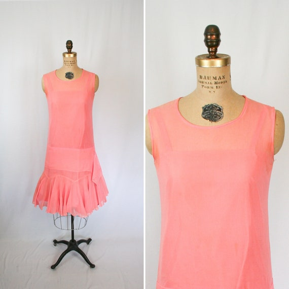 Vintage 20s Dress | Vintage pink chiffon dress | 1