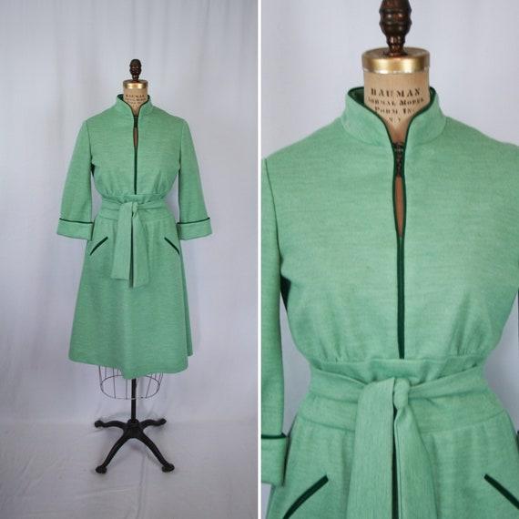 Vintage 70s dress | Vintage green knit dress | 197