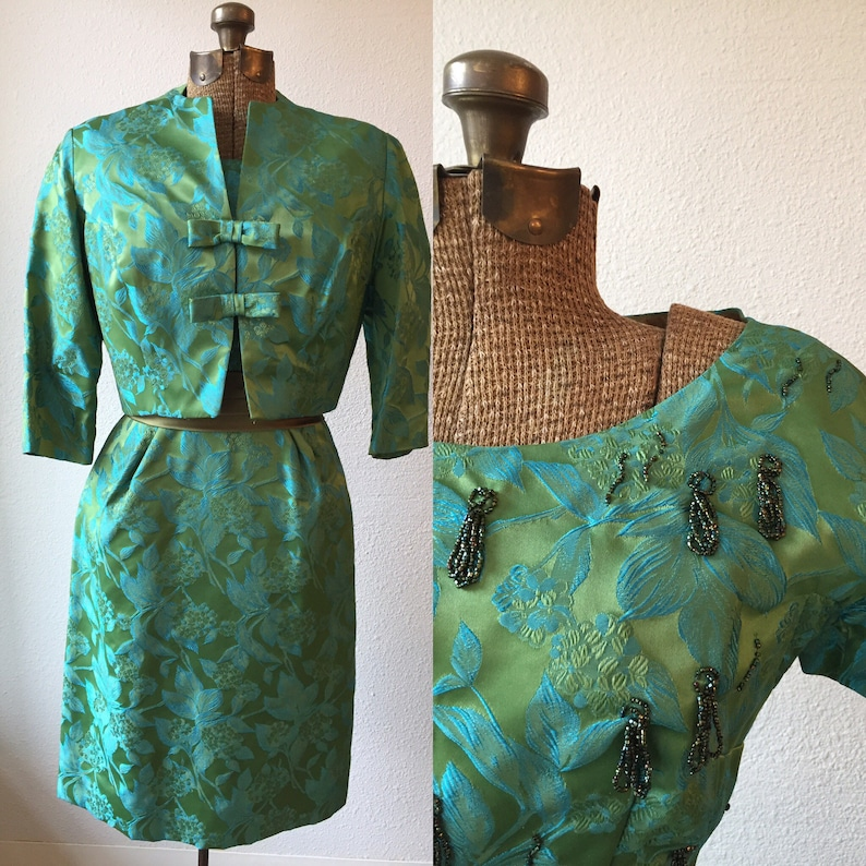 47c2d51d96e Aegian 50s Dress and Jacket Vintage floral brocade sheath and