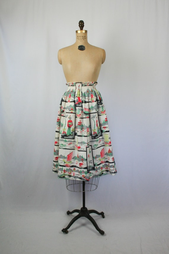Vintage 50s full skirt | Vintage Asian inspired no