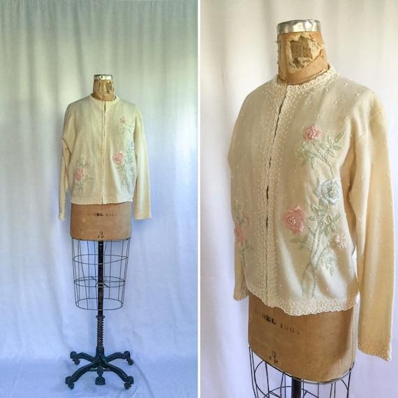 Vintage 50s beaded Cardigan | Vintage ivory wool f