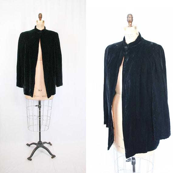 Vintage 30s jacket | Vintage black silk velvet  j… - image 1