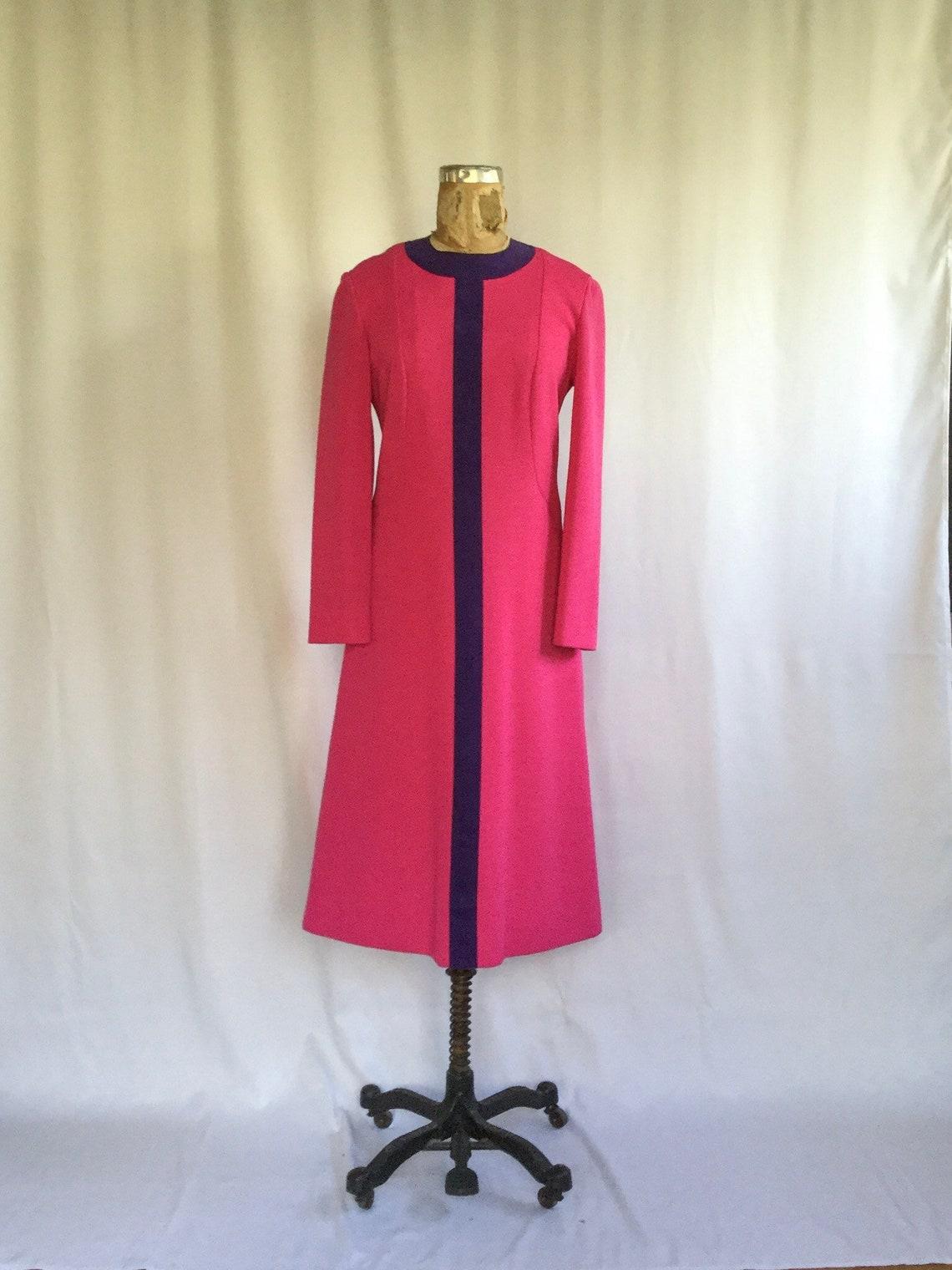 Vintage 60s knit dress Vintage pink wool purple suede shift