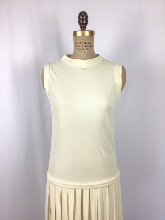 Vintage 60s dress | Vintage ivory drop waist dres… - image 2