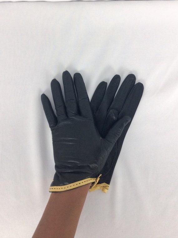 Vintage 50s Gloves | Vintage black yellow leather