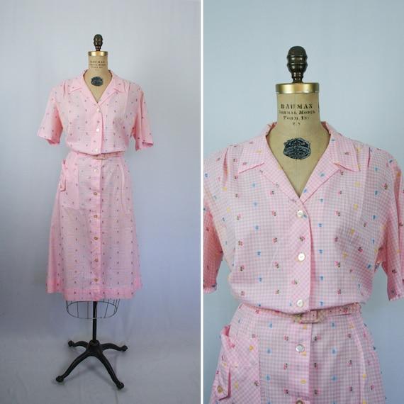Vintage 60s shirtwaist dress | Vintage floral pink