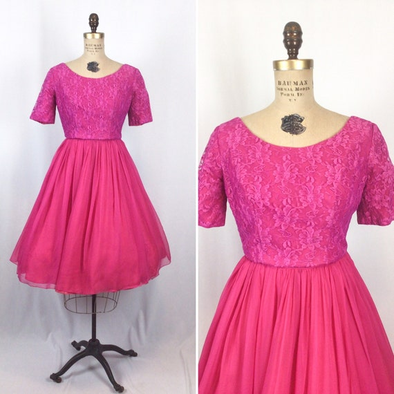 Vintage 50s dress | Vintage magenta lace chiffon f