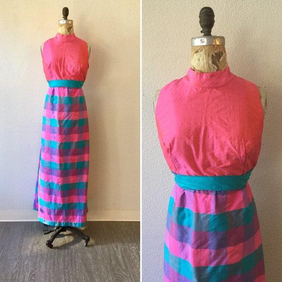 Madras 60s dress| Vintage pink madras plaid silk d