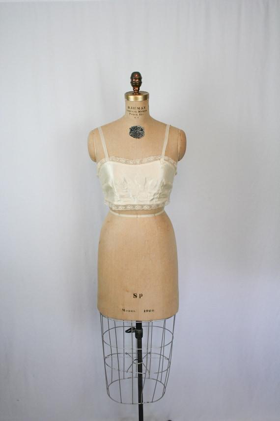 Vintage 20s brassiere | Vintage ivory satin bra |