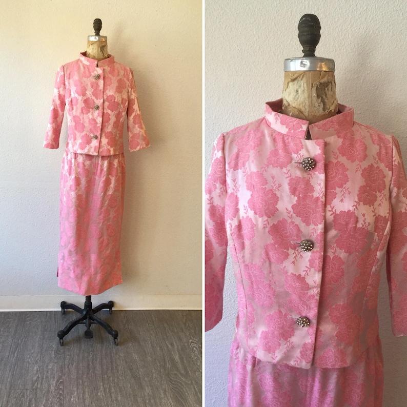 1960/'s Carol Brent Two Piece Suit Vintage pink rose brocade suit Rose 60s suit