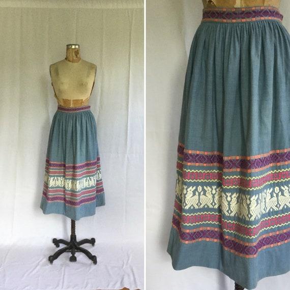 Bohemian 70s embroidered skirt   Vintage cotton em