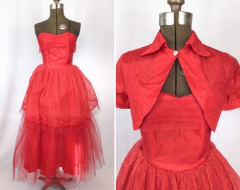 Vintage 50s dress   Vintage red net and lace party dress   1950s dress and bolero evening gown prom dress