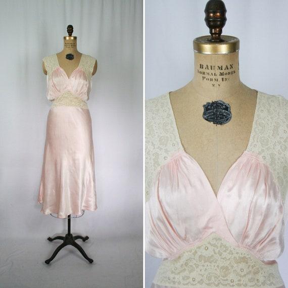 Vintage 40s nightgown | Vintage pink satin floral