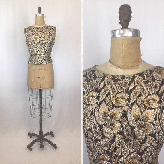 Vintage 50s top | Vintage floral brocade evening t