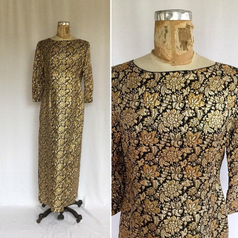 9b3484df4f69f Vintage 60s brocade dress Vintage black gold brocade long