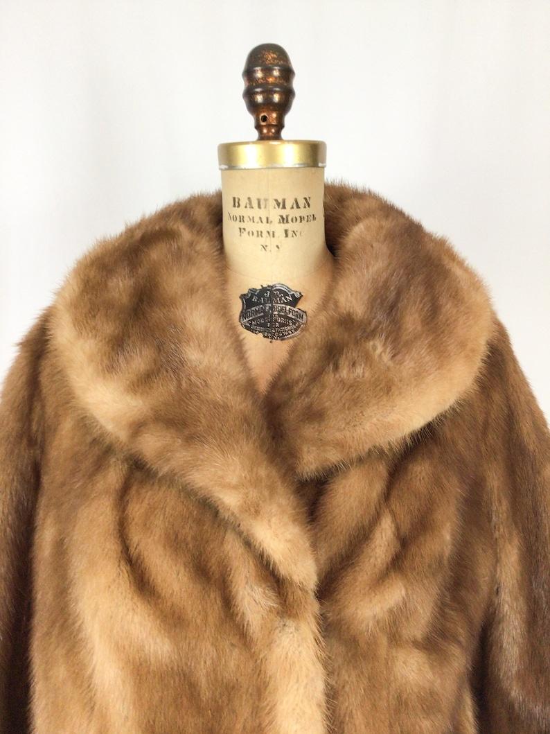 Vintage 50s fur jacket 1950s  fur short mink jacket Vintage honey brown mink fur coat