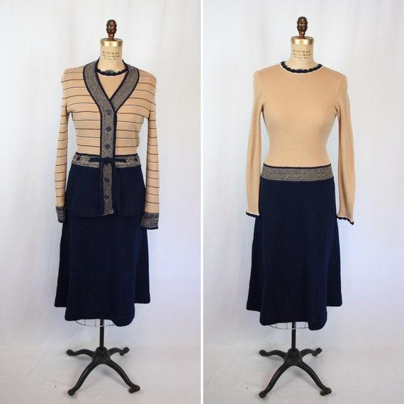 Vintage 70s dress | Vintage two piece dress set |