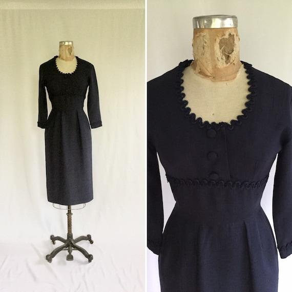 Vintage 50s wiggle dress | Vintage navy wiggle dre