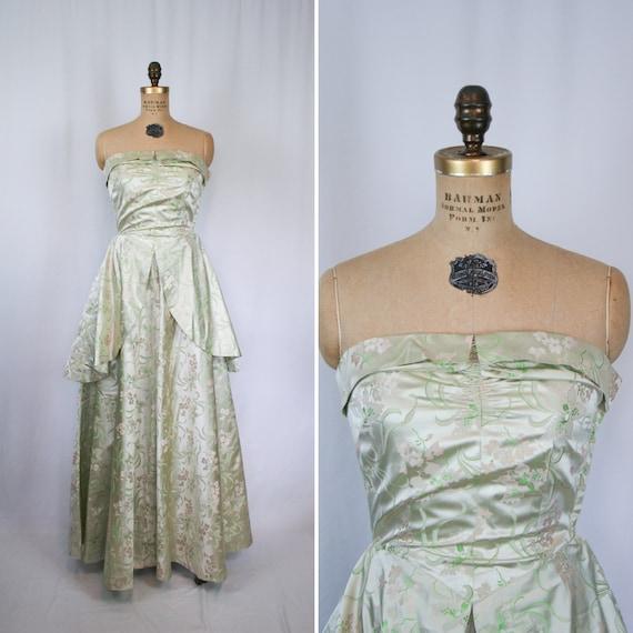 Vintage 50s party dress | Vintage green floral eve