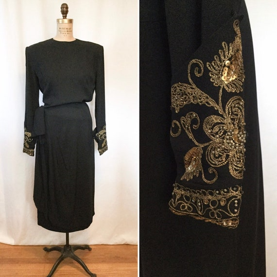 Janet Taylor rayon 40s dress | Vintage black rayon