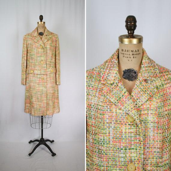 Vintage 60s coat | Vintage multi color wool coat |