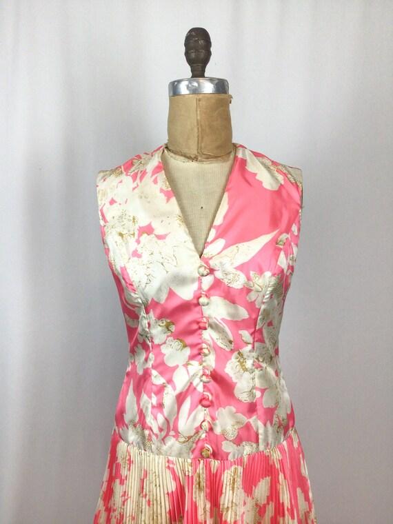 Vintage 60s dress   Vintage pink floral cocktail … - image 2