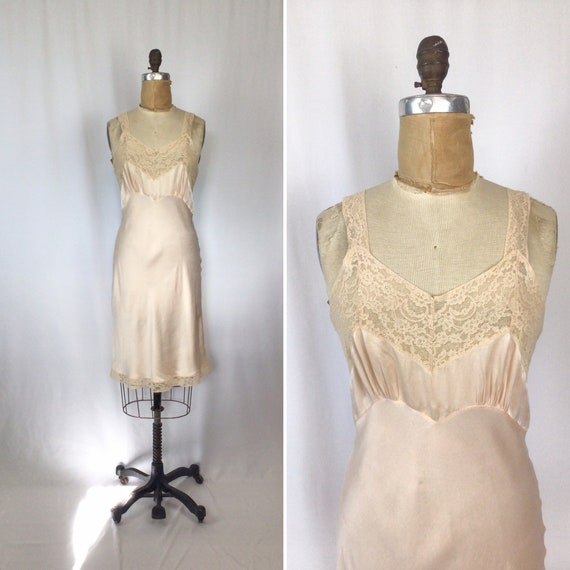 Vintage 40s slip | Vintage blush pink silk antique