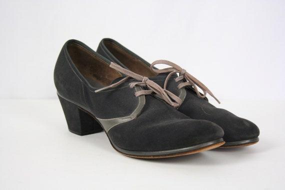 Vintage 30s shoes | Vintage blue suede oxfords | 1