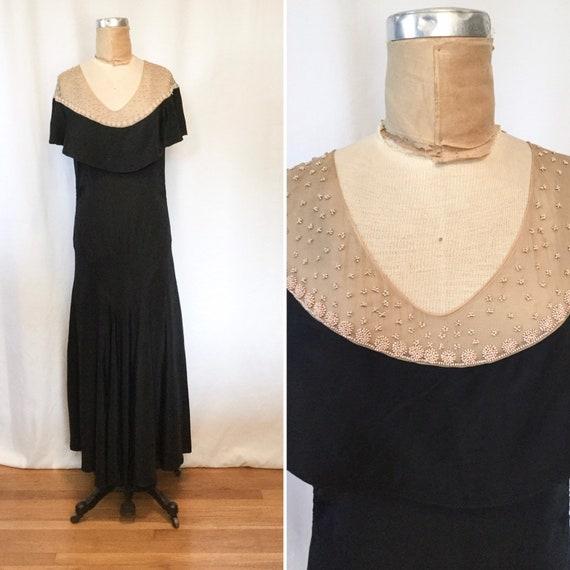 Casandra 30s dress | Vintage black rayon beaded fu