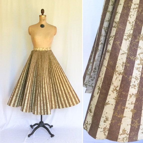 Vintage 50s circle skirt | Vintage brown stripe go