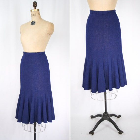 Vintage 30s knit skirt | Vintage blue rayon knit s