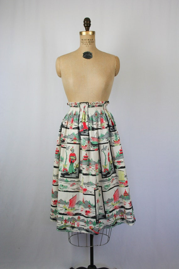 Vintage 50s full skirt | Vintage Asian inspired no