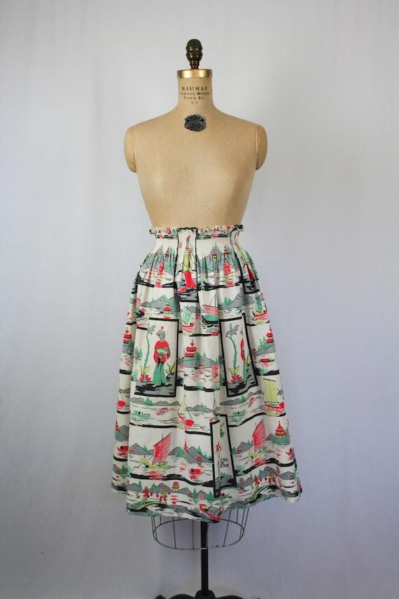 Vintage 50s Dragon Wrap Skirt Small Medium Deadstock 1950s Novelty Print Skirt