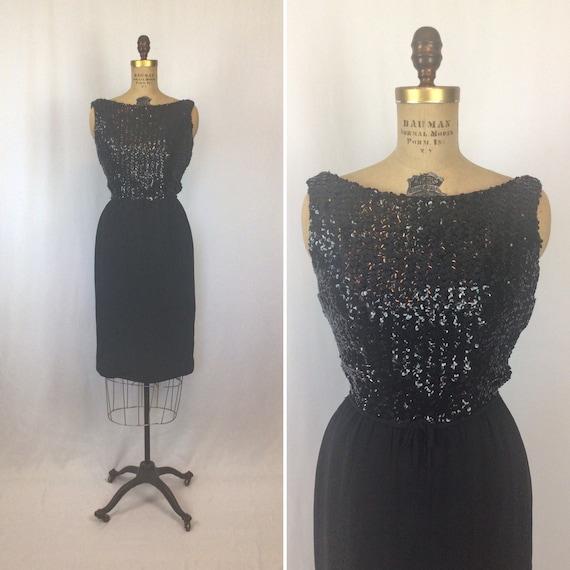 Vintage 50s dress | Vintage black sequins wiggle d