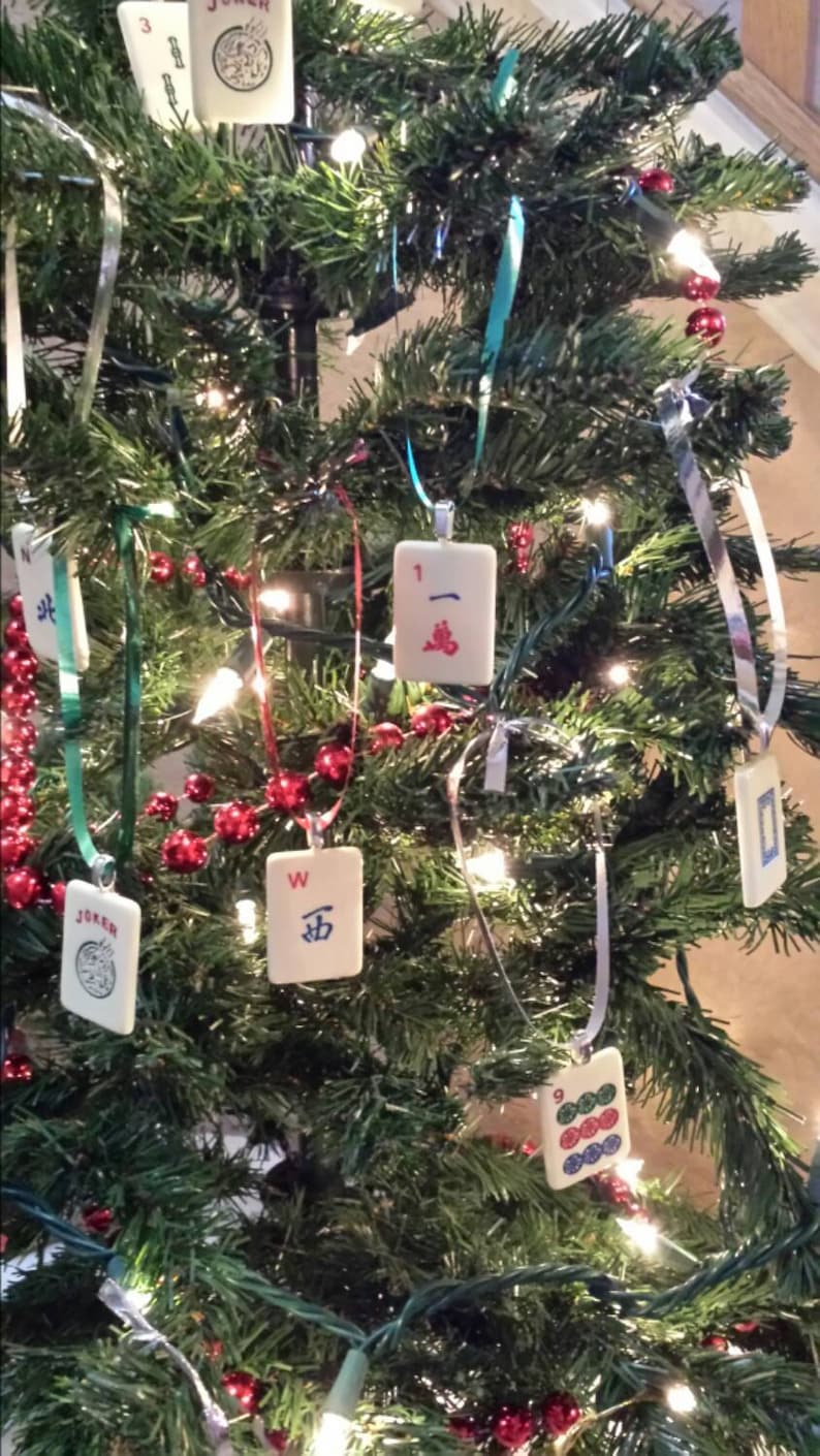 Mahjong Christmas.Set Of 8 Mahjong Tile Christmas Tree Ornaments Individual Plastic Tiles With Ribbon Hanger