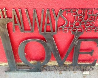 Metal Scripture Wall Art Love never fails- 1 Corinthians 13:7-8