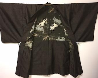 vintage Japanese Kimono Jacket Silk Haori Abstract Striped Xmas Gift For Her HR2019032815