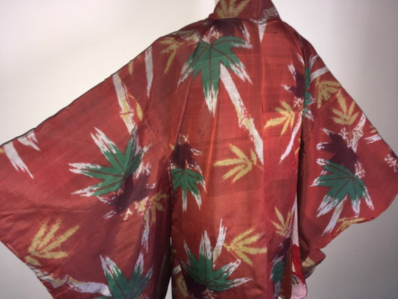 Antique haori - Meisen, Bamboo leaf, Brick red, Pr