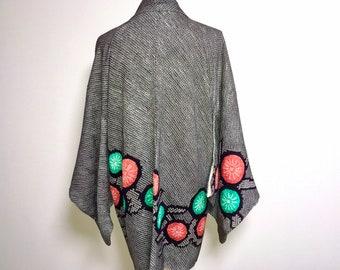 Vintage haori - Shibori, Plum flower, vivid orange and emerald green, 80s
