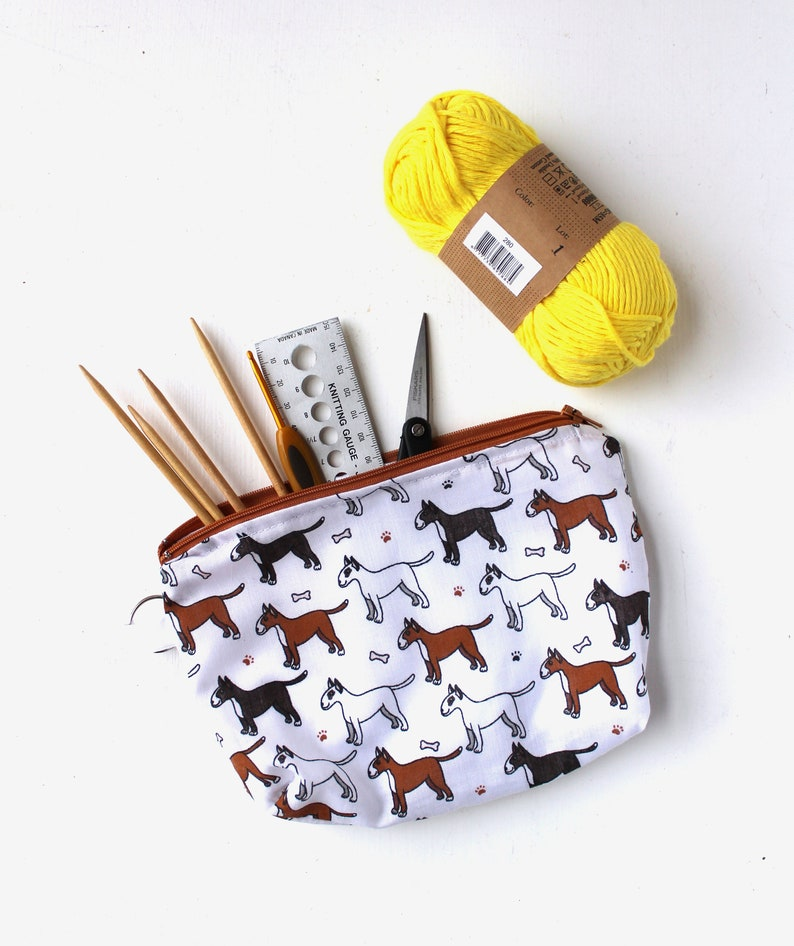 Crafting Notions Pouch Gift for Knitters Knitting Accessory Bull Terrier Notions Bag Dog Lover/'s Bag Crochet Project Bag
