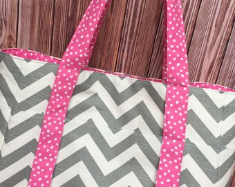 CLOSEOUT!- X-LARGE Gray and White Chevron Zigzag Diaper Bag/ Purse/ Tote/ Beach Bag with Pink Polka Dot Interior and 10 Pockets
