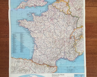 France Map Poster - 1980's vintage by National Geographic